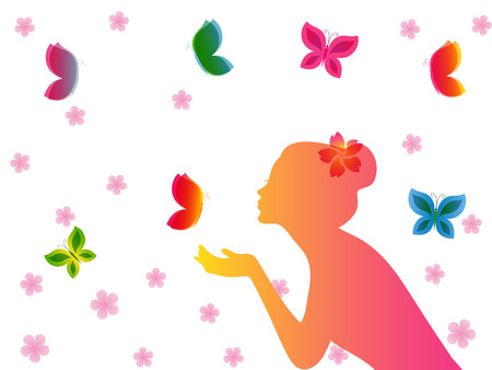 half face: Girl half face silhouette and butterflies Illustration