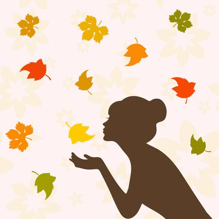 autumn woman: Girl half face silhouette and autumn leaves Illustration