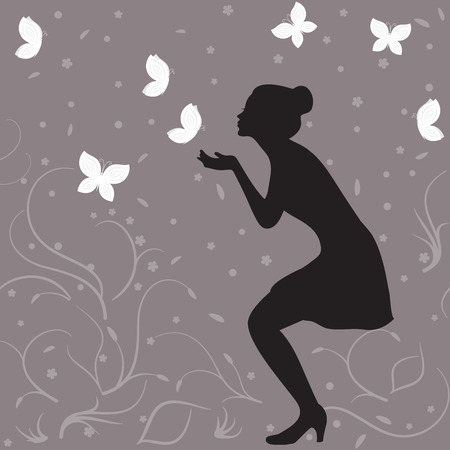 elegant woman: Girl profile silhouette and white butterflies