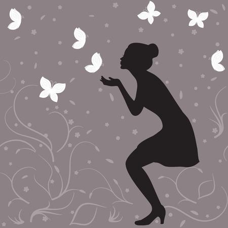 donna farfalla: profilo ragazza silhouette e farfalle bianche
