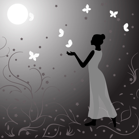 clothed: Girl clothed in gauzy dress in night with butterflies Illustration
