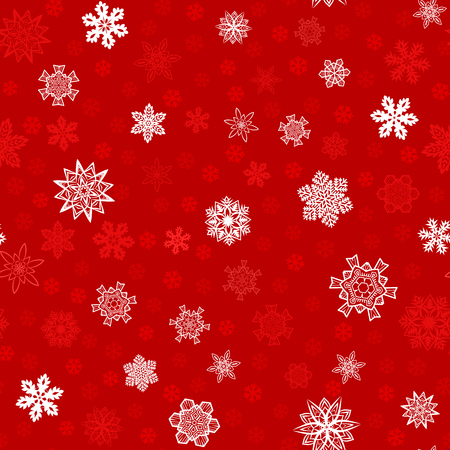 Seamless red winter background with white snowflakes. Vector pattern for Christmas and New Year holidays.