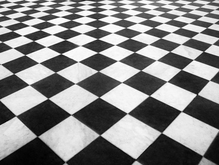 Chess marble floor Stock Photo