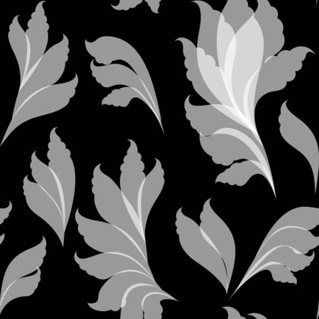 gauzy: Seamless floral white and black pattern
