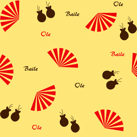 hot temper: patrón sin fisuras con el flamenco ventiladores y castañuelas Vectores