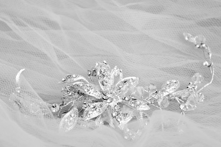 platinum: White and black wedding jewellery platinum brooch Stock Photo