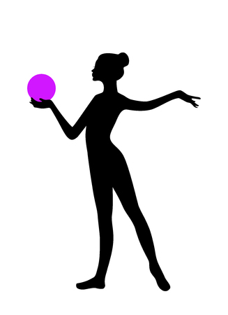 gymnastic: Silhouette of gymnastic girl with ball Illustration