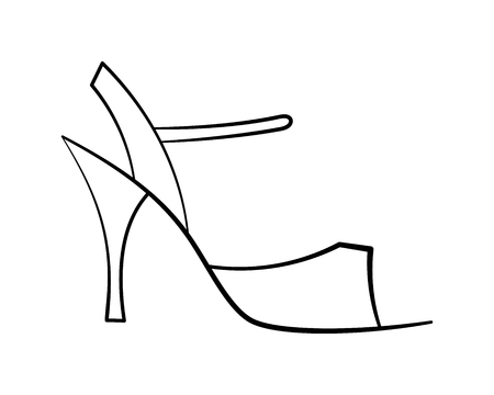 Sketched tango shoe without filling simple side view