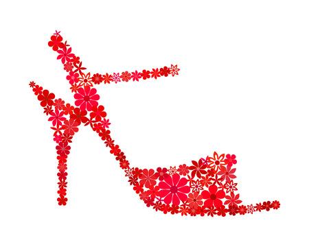 Bloemen mozaïek rode tango schoen