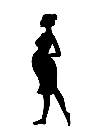Silhouette of walking pregnant woman