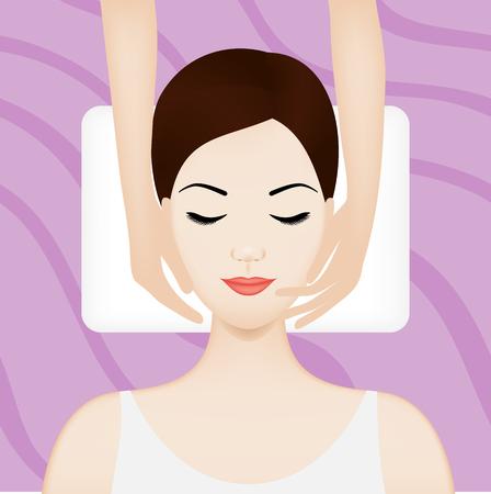 facial massage: Spa illustration with girl having facial massage