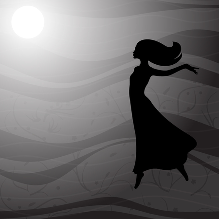 flying woman: Flying woman in long dress with long hair Illustration