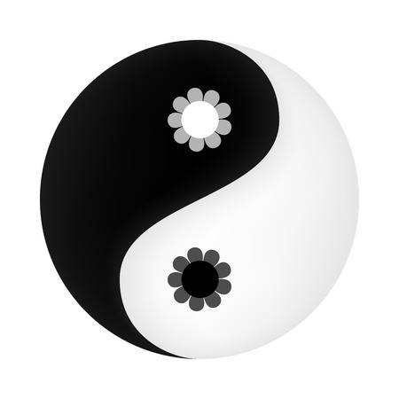 taoism: Yin Yang symbol with flowers in the middle Illustration
