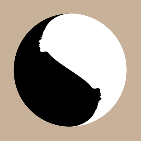 daoism: Yin Yang symbol with human faces