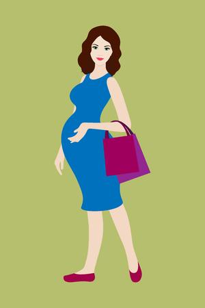 donne eleganti: Donna incinta con borse della spesa