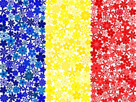 romanian: Floral mosaic Romanian flag Illustration