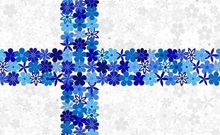 finnish: Floral mosaic Finnish flag