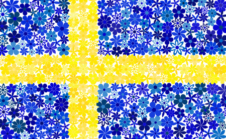 swedish: Floral mosaic Swedish flag