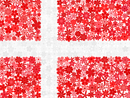 danish flag: Floral mosaic Danish flag Illustration