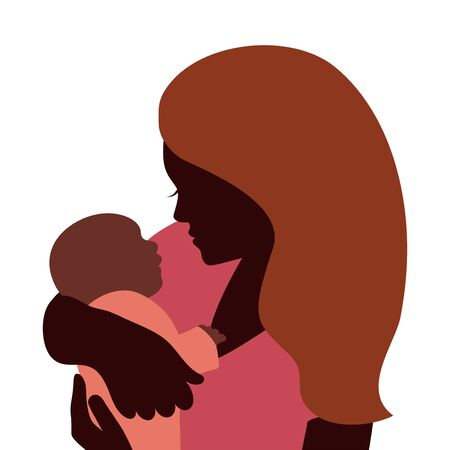 baby and mother: Mother embracing newborn baby, isolated silhouettes Illustration