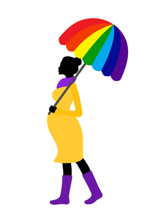 rainbow umbrella: Pregnant woman silhouette with rainbow umbrella and rubber boots Illustration