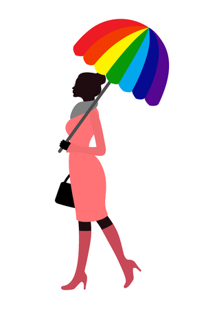 rainbow umbrella: Female silhouette with rainbow umbrella Illustration