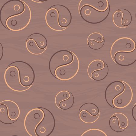 yan: Seamless pattern with vignette Yin Yang symbol