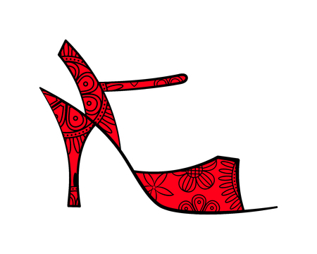milonga: Sketched tango ornate shoe with filling side view