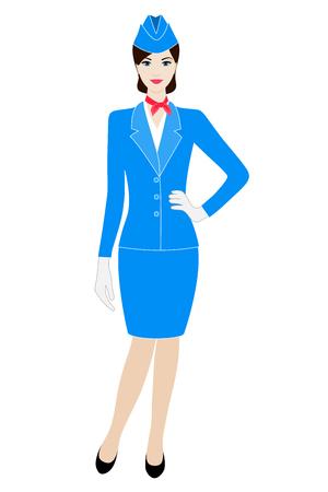 cartoon work: Illustration of stewardess dressed in blue uniform Illustration