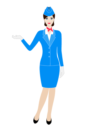 garrison: Illustration of young stewardess dressed in blue uniform