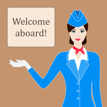 Illustration of stewardess welcoming for flight with space for text