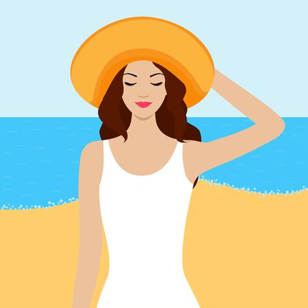 beach closed: Illustration of girl with closed eyes on the beach Illustration