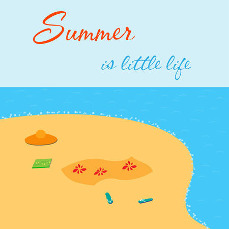 shore: Summer is little life. Bight summer card with sea shore.