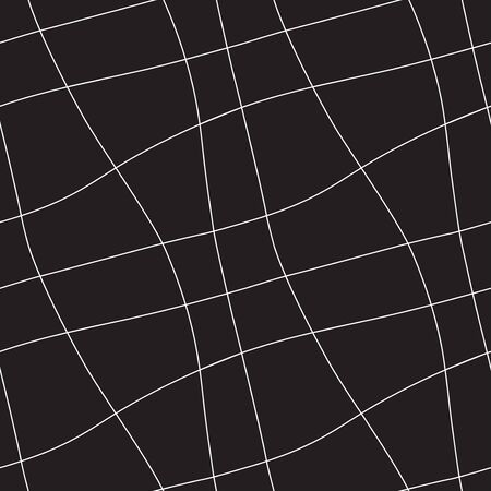 flexure: Seamless abstract geometric ornament with white lines on black background
