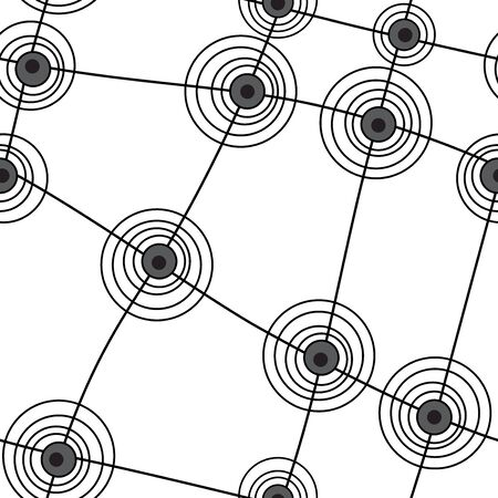 contortion: Seamless abstract pattern with black lines and circles on white background