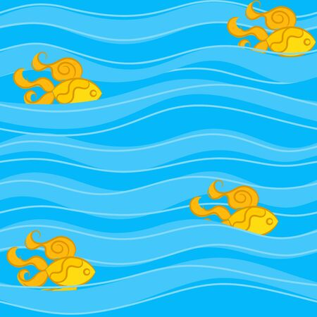 golden fish: Seamless pattern with golden fish in thin and wide waves