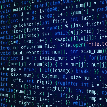 informatics: Blue square background with program code Illustration