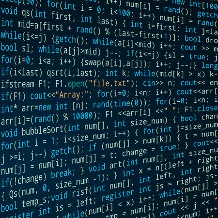 program code: Dark blue square background with program code