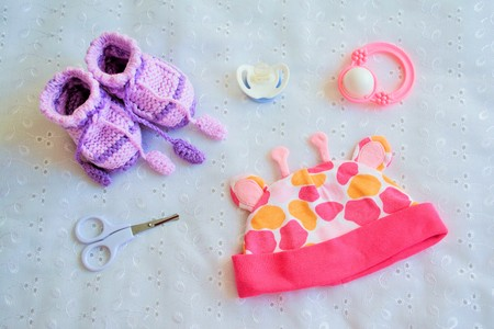 stuff toy: Collection of things for baby, top view
