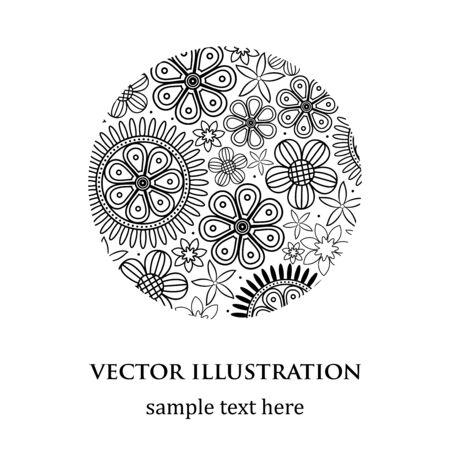 Abstract floral rond motif blanc et noir
