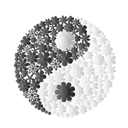 yin y yan: símbolo de Yin Yang consistió en flores