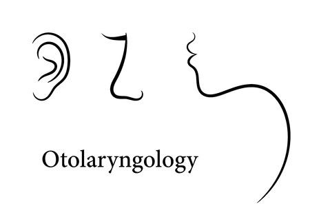 otolaryngology: Otolaryngology set with ear, nose and throat patterns Illustration