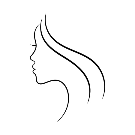 Female face profile sketch. May be used for spa and beauty salon or another decoration. 向量圖像