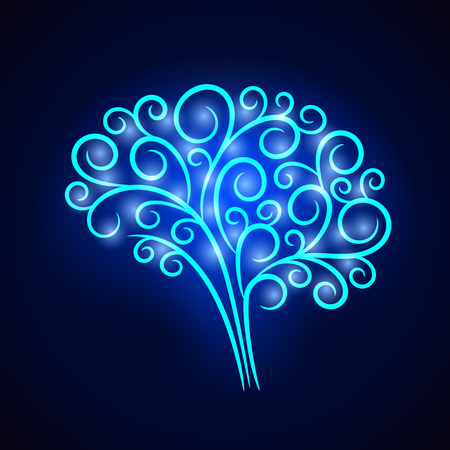 Abstract vignette neon brain. Vector design for any decoration. Creative concept. Illustration