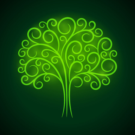 fluorescent lights: Abstract vignette green glowing tree. Vector creative concept. Illustration