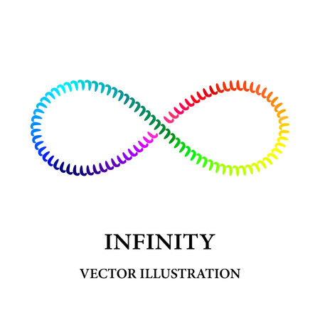 Rainbow spiral like infinity symbol consisted of simple elements Illustration
