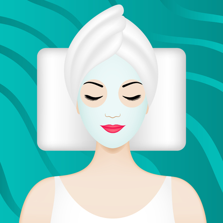 Spa illustration with girl having facial mask Illustration