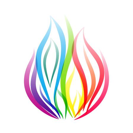 Rainbow fire flame symbol