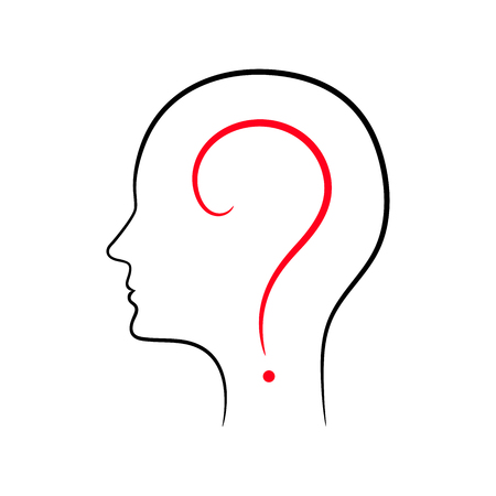 signo de interrogación en el contorno de la cabeza masculina Ilustración de vector