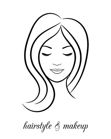 Contour logo for beauty salon with woman with closed eyes 向量圖像